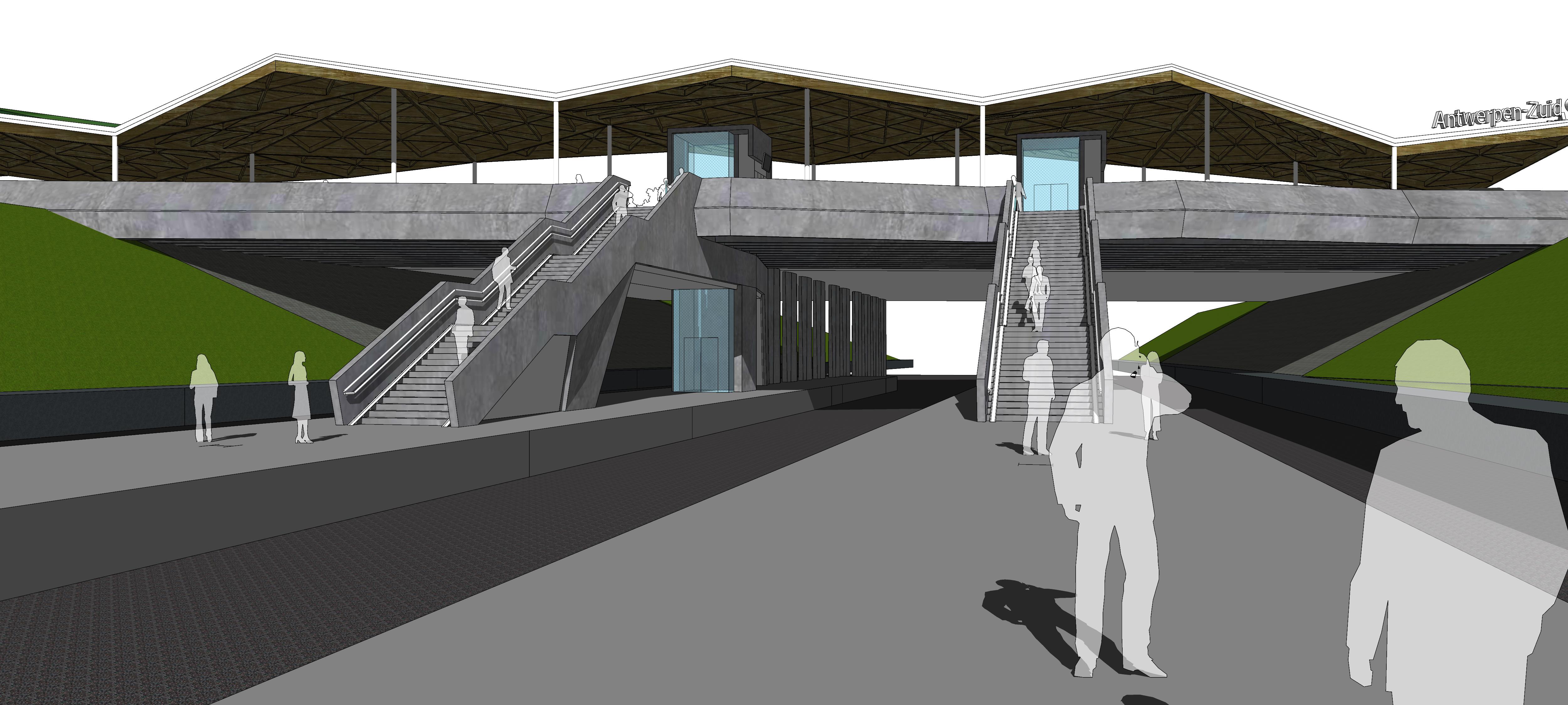Zicht op de nieuwe trappen, liften en luifel vanop de perrons van station Antwerpen-zuid.