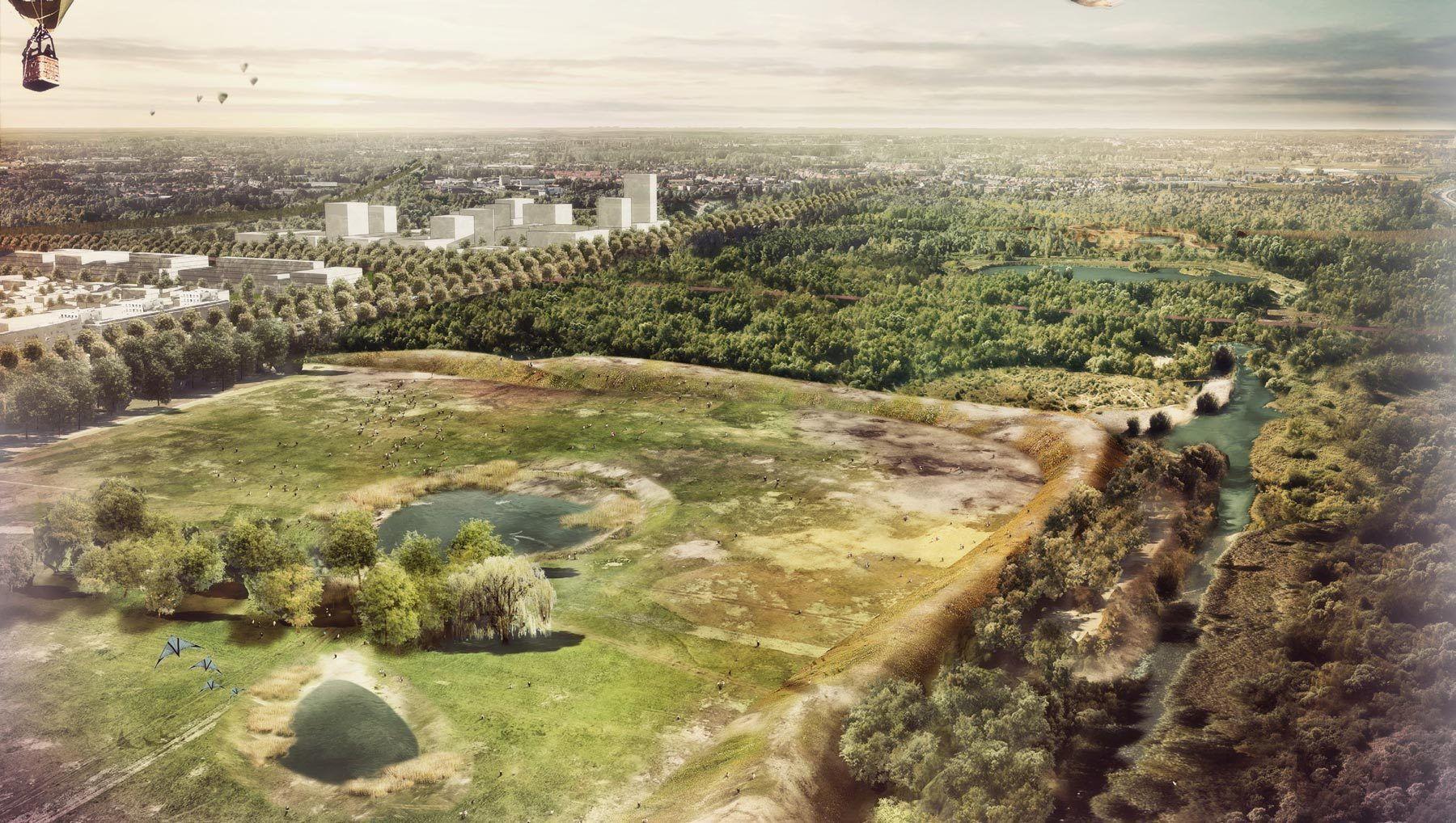 Simulatiebeeld van hoe park Middenvijver er met de twee hondenzwemvijvers zou kunnen uitzien.